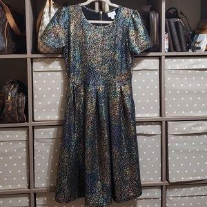 Lularoe NWOT Amelia dress size M elegant metallic